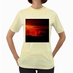 Tree Series Sun Orange Sunset Women s Yellow T Shirt