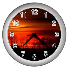 Tree Series Sun Orange Sunset Wall Clocks (silver)