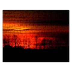Tree Series Sun Orange Sunset Rectangular Jigsaw Puzzl