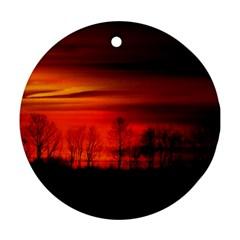 Tree Series Sun Orange Sunset Round Ornament (two Sides)