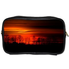 Tree Series Sun Orange Sunset Toiletries Bags 2 Side