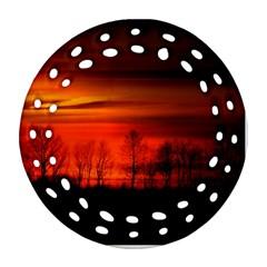 Tree Series Sun Orange Sunset Round Filigree Ornament (two Sides)