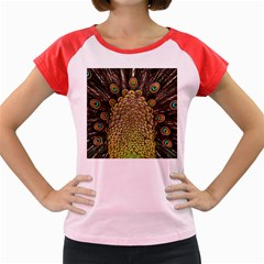 Peacock Feathers Wheel Plumage Women s Cap Sleeve T Shirt