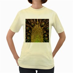Peacock Feathers Wheel Plumage Women s Yellow T Shirt
