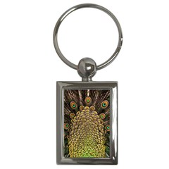 Peacock Feathers Wheel Plumage Key Chains (rectangle)
