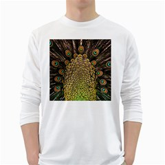 Peacock Feathers Wheel Plumage White Long Sleeve T Shirts