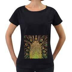 Peacock Feathers Wheel Plumage Women s Loose Fit T Shirt (black)