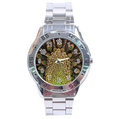 Peacock Feathers Wheel Plumage Stainless Steel Analogue Watch