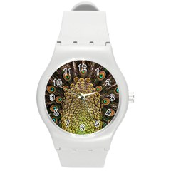 Peacock Feathers Wheel Plumage Round Plastic Sport Watch (m)