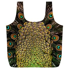 Peacock Feathers Wheel Plumage Full Print Recycle Bags (l)