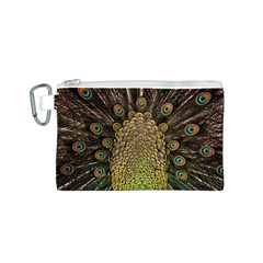 Peacock Feathers Wheel Plumage Canvas Cosmetic Bag (s)