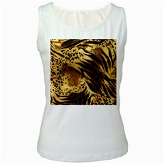 Pattern Tiger Stripes Print Animal Women s White Tank Top