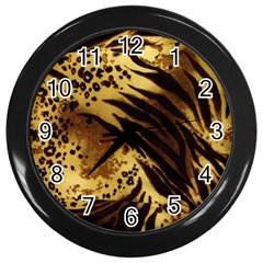 Pattern Tiger Stripes Print Animal Wall Clocks (black)