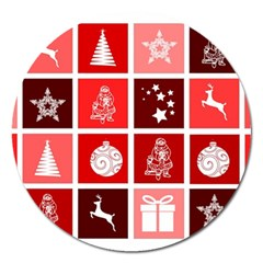 Christmas Map Innovative Modern Magnet 5  (round)
