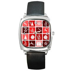 Christmas Map Innovative Modern Square Metal Watch