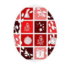 Christmas Map Innovative Modern Oval Filigree Ornament (two Sides)