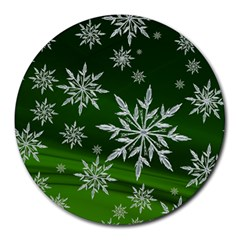 Christmas Star Ice Crystal Green Background Round Mousepads