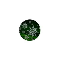 Christmas Star Ice Crystal Green Background 1  Mini Magnets