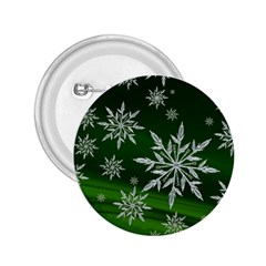 Christmas Star Ice Crystal Green Background 2 25  Buttons