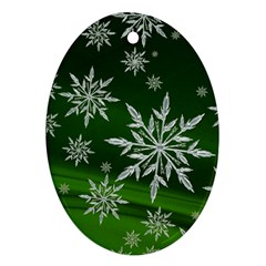 Christmas Star Ice Crystal Green Background Ornament (oval)