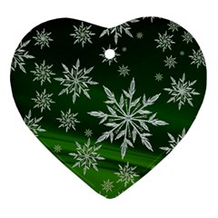 Christmas Star Ice Crystal Green Background Ornament (heart)