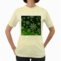 Christmas Star Ice Crystal Green Background Women s Yellow T Shirt