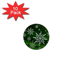 Christmas Star Ice Crystal Green Background 1  Mini Magnet (10 Pack)