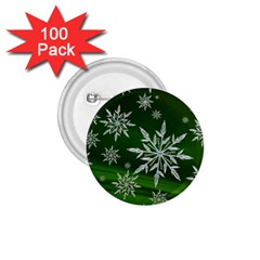 Christmas Star Ice Crystal Green Background 1 75  Buttons (100 Pack)