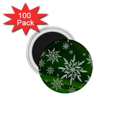 Christmas Star Ice Crystal Green Background 1 75  Magnets (100 Pack)