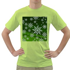 Christmas Star Ice Crystal Green Background Green T Shirt