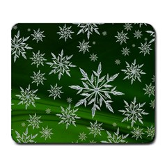 Christmas Star Ice Crystal Green Background Large Mousepads