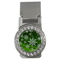 Christmas Star Ice Crystal Green Background Money Clips (cz)