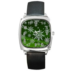 Christmas Star Ice Crystal Green Background Square Metal Watch