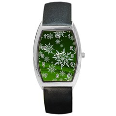 Christmas Star Ice Crystal Green Background Barrel Style Metal Watch