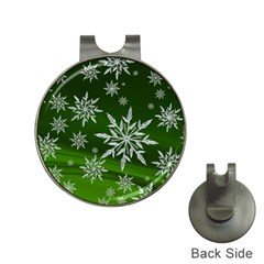 Christmas Star Ice Crystal Green Background Hat Clips With Golf Markers