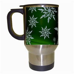 Christmas Star Ice Crystal Green Background Travel Mugs (white)