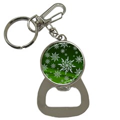 Christmas Star Ice Crystal Green Background Button Necklaces