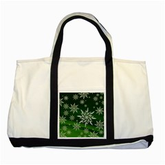 Christmas Star Ice Crystal Green Background Two Tone Tote Bag