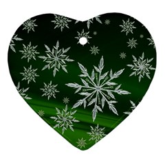 Christmas Star Ice Crystal Green Background Heart Ornament (two Sides)
