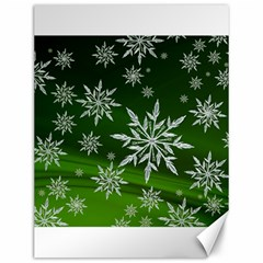 Christmas Star Ice Crystal Green Background Canvas 12  X 16