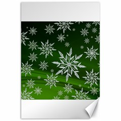 Christmas Star Ice Crystal Green Background Canvas 20  X 30