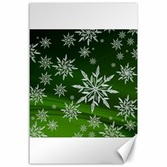 Christmas Star Ice Crystal Green Background Canvas 24  X 36