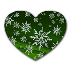 Christmas Star Ice Crystal Green Background Heart Mousepads