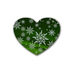 Christmas Star Ice Crystal Green Background Heart Coaster (4 Pack)