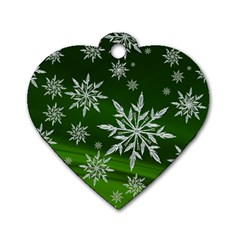 Christmas Star Ice Crystal Green Background Dog Tag Heart (two Sides)