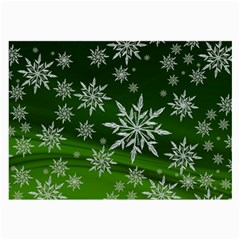 Christmas Star Ice Crystal Green Background Large Glasses Cloth