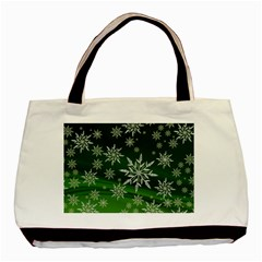 Christmas Star Ice Crystal Green Background Basic Tote Bag (two Sides)