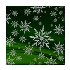 Christmas Star Ice Crystal Green Background Face Towel