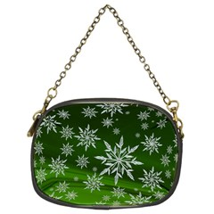 Christmas Star Ice Crystal Green Background Chain Purses (two Sides)