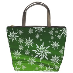 Christmas Star Ice Crystal Green Background Bucket Bags